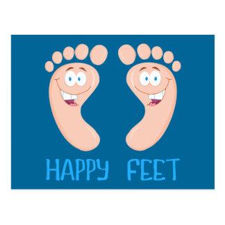 glückliche Füße Postkarte