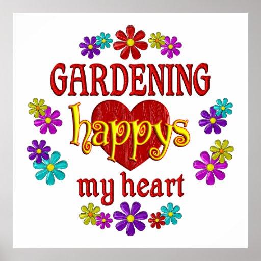 Glückliche Gartenarbeit Plakate
