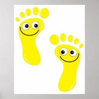 Glückliche gelbe Füße Plakat