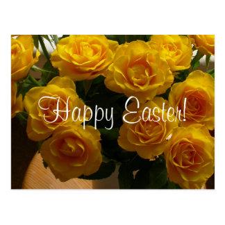 Glückliche gelbe Rose Ostern Postkarte