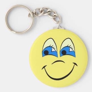 Glückliche Gesichts-Strecke Standard Runder Schlüsselanhänger