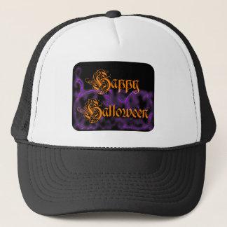 Glückliche gespenstische lila Rollen Halloweens Truckerkappe