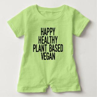 Glückliche gesunde Pflanze basierte veganes Baby Strampler