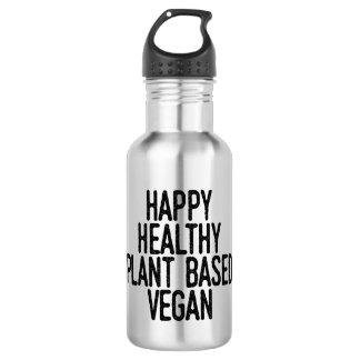 Glückliche gesunde Pflanze basierte veganes Edelstahlflasche