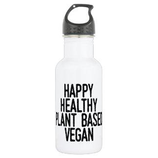 Glückliche gesunde Pflanze basierte veganes Trinkflasche