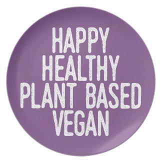 Glückliche gesunde Pflanze basierte veganes (weiß) Melaminteller