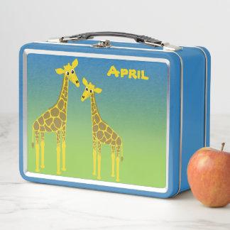 Glückliche Giraffen-Herden-Brotdose Metall Lunch Box