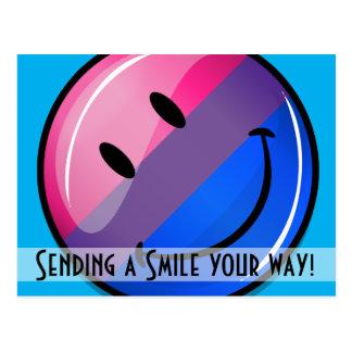 Glückliche glatte Bisexuality-Stolz-Flagge Postkarte