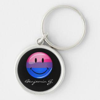 Glückliche glatte Bisexuality-Stolz-Flagge Schlüsselanhänger
