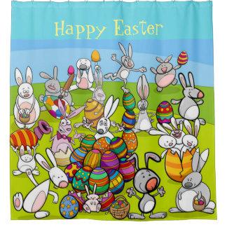 Glückliche große Ei-Jagd Ostern Duschvorhang