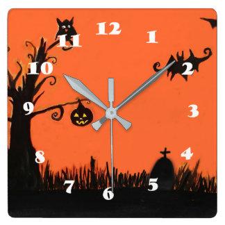 Glückliche Halloween-Baum-Kürbis-Quadrat-Wanduhr Quadratische Wanduhr