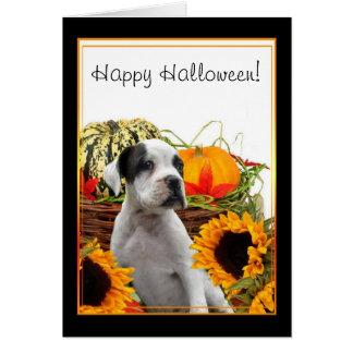 Glückliche Halloween-Boxerwelpen-Grußkarte Karte