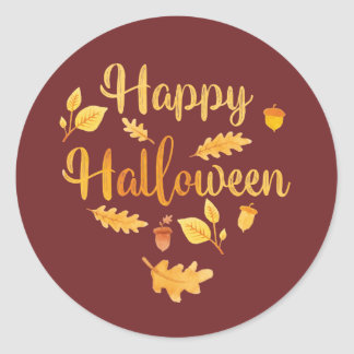 Glückliche Halloween-Herbstlaub-Aufkleber Runder Aufkleber
