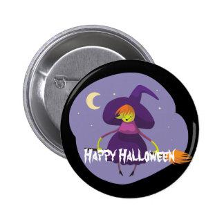 Glückliche Halloween-Hexe, Besen, Hut Runder Button 5,7 Cm