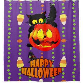 Glückliche Halloween-Hexe-Katze Duschvorhang