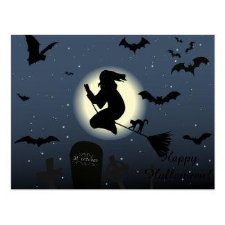 Glückliche Halloween-Hexe Postkarte