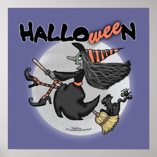 Glückliche Halloween-Hexe sagt kleines Stück Posterdrucke