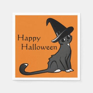 Glückliche Halloween-Katzen-Hexe - Servietten