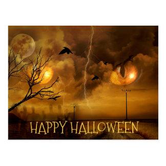 Glückliche Halloween-Katzenaugen-Spuk Postkarte
