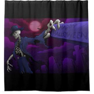 Glückliche Halloween-Knochen Duschvorhang
