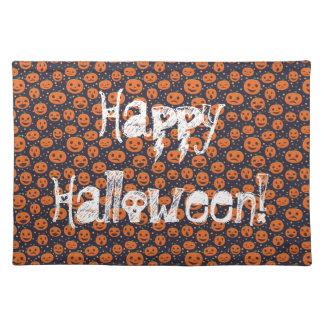 Glückliche Halloween-Kürbis-Muster-Kürbislaterne Tischset