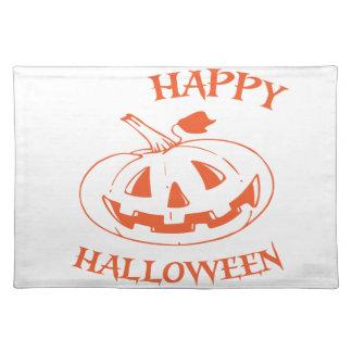 Glückliche Halloween-Kürbislaterne Stofftischset