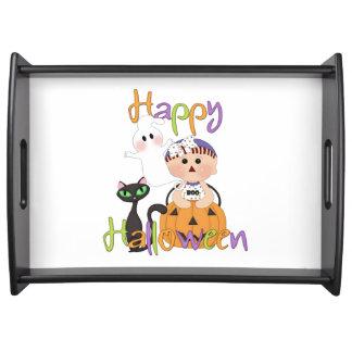 Glückliche Halloween-Party-Freunde Serviertablett