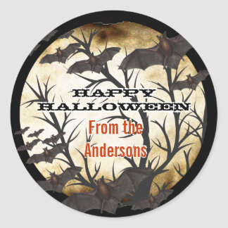 Glückliche Halloween-Schläger und gebranntes Runder Aufkleber