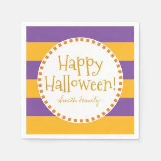 Glückliche Halloween-Streifen Papierserviette