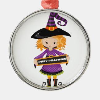 Glückliche Halloween-Süsse-Hexe Silbernes Ornament