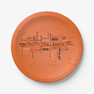 Glückliche Halloween-Typografie - Pappteller