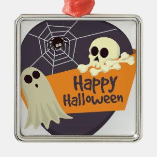 Glückliche Halloweengeister und -gekreuzte Knochen Silbernes Ornament