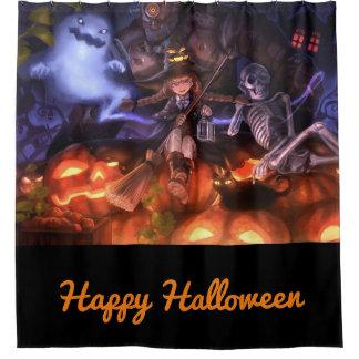Glückliche Halloweenhexe und -freunde Duschvorhang