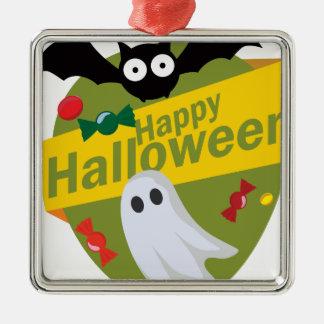 Glückliche Halloweenschläger und -geister Silbernes Ornament