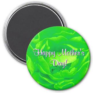 Glückliche hellgrüne Rose der Mutter Tages Magnete
