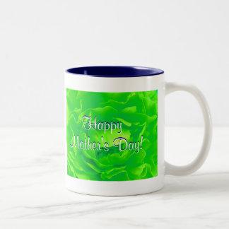 Glückliche hellgrüne Rose der Mutter Tages Kaffee Tassen