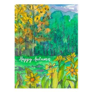 Glückliche Herbst-Fall-Baum-Berge Postkarte