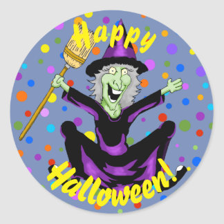 Glückliche Hexe-Halloween-Aufkleber