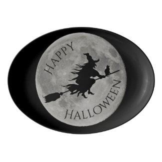 Glückliche Hexe-Mond-Schatten-Servierplatte Porzellan Servierplatte