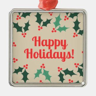 glückliche hollidays silbernes ornament