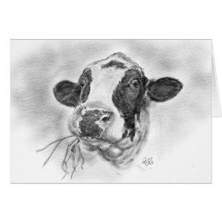 Glückliche Holsteiner-Milchkuh Karte