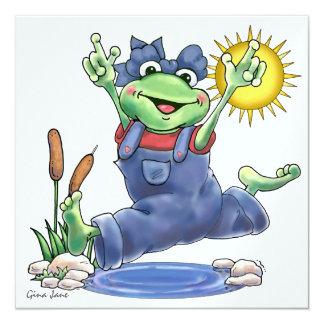 Glückliche Hoppin Frosch-Einladung durch SRF Quadratische 13,3 Cm Einladungskarte
