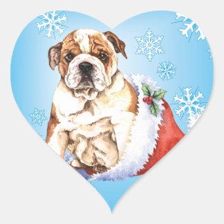 Glückliche Howliday Bulldogge Herz-Aufkleber