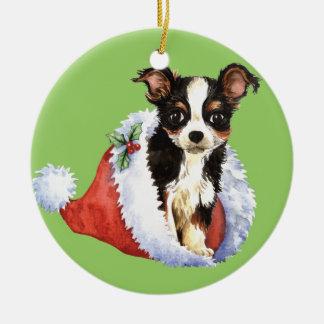 Glückliche Howliday lange Mantel-Chihuahua Keramik Ornament