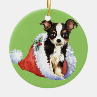 Glückliche Howliday lange Mantel-Chihuahua Rundes Keramik Ornament