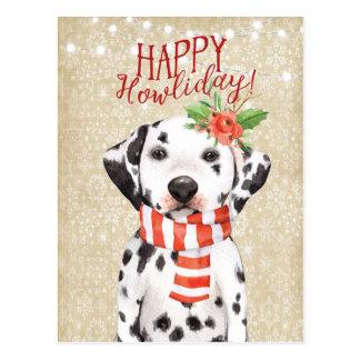 Glückliche Howliday Weihnachtspostkarte dalmation Postkarte