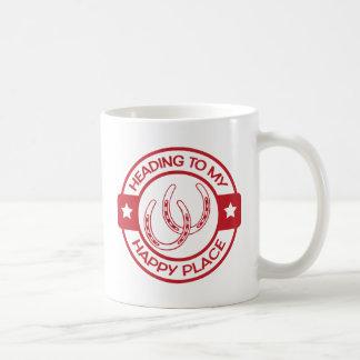 Glückliche Hufeisen des Platzes A258 rot Kaffeetasse