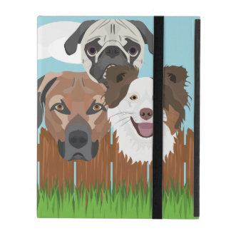 Glückliche Hunde der Illustration auf einem iPad Etui