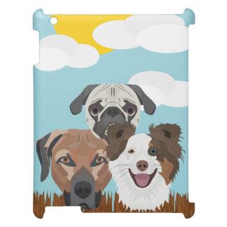 Glückliche Hunde der Illustration auf einem iPad Hülle