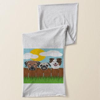 Glückliche Hunde der Illustration auf einem Schal